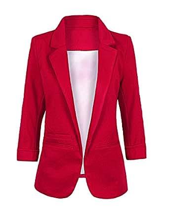 ZongSen Damen Business Suit Jacke Plain Schlank Fit 3/4 Ärmeln Knopf Blazer Burgunderrot L