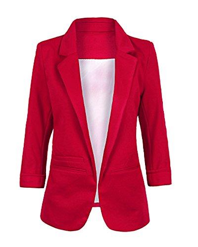 ZongSen Femme Blazer 3/4 Manche Blouson Manteau Jacket Mince Suit Veste Vin rouge