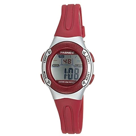 Pasnew Casual Waterproof Children Girls Digital Sport Watches with Alarm, Chronograph, Date (Red)
