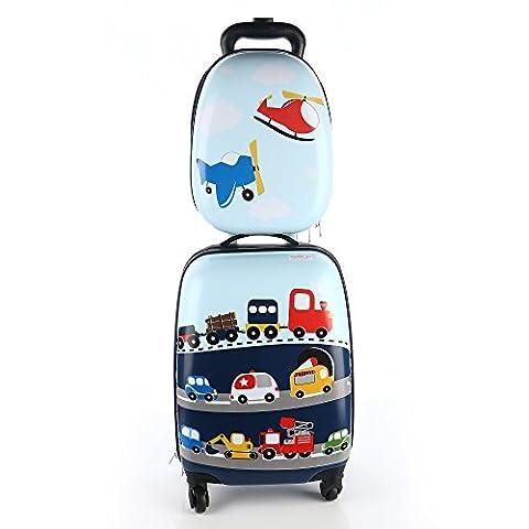 Kids Luggage - iPlay, iLearn Boy's Luggage Set 18 Inch Luggage 14 Inch Backpack( Cars )