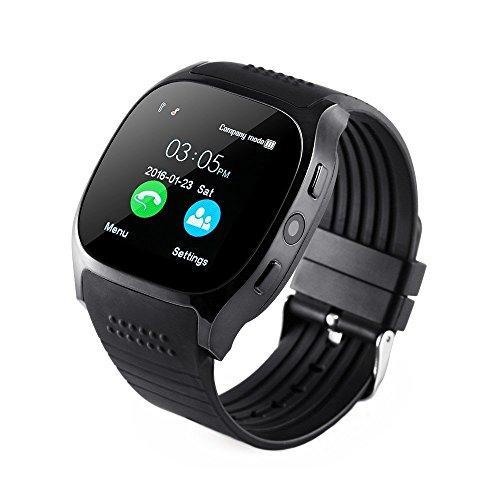 Smartwatch andriod ios, Uhr Fitness Watch Handy Armbanduhr Intelligente mit Fernbedienung Remote Kamera, Musikplayer, SIM/TF Card Slot anti-lost, Meldungen Anrufe SMS, Tracker Aktivitäten, T8, schwarz