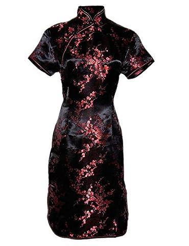 Robe chinoise noire et rouge a petites fleurs et manches