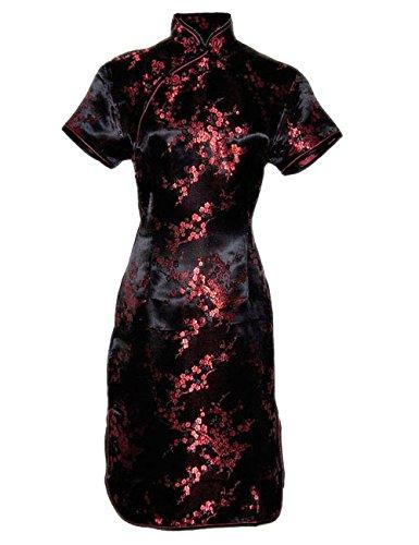 Chinesisches kleid qipao abendkleid ärmelkurz schwarz und rot von Größe 38 bis 48 Schwarz Und Rot