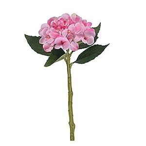 3Lot de 33cm avec longue tige et feuillage Rose Hortensia
