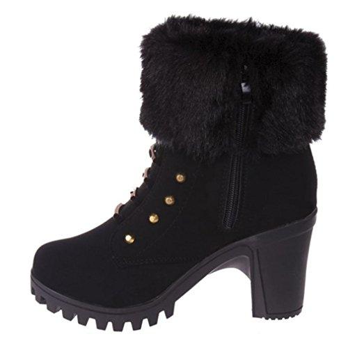 Botines Tacon de Cuña para Mujer Zapatos Plataforma Negro por ESAILQ K