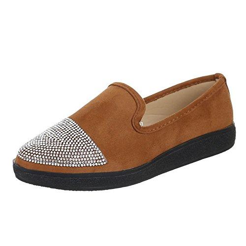Damen Schuhe, JA50, HALBSCHUHE MODERNE SLIPPER Camel