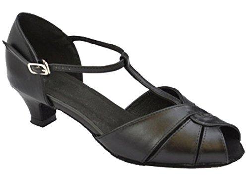 TDA , Damen Tanzschuhe Black Leather