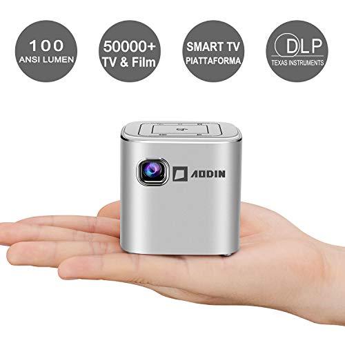 Mini Videoproiettori, AODIN Fusion 100 ANSI Lumen WIFI Video proiettori portatile, DLP Proiettori, supporto 1080P, Schermo da 120 ', Stream 50000+ Serie TV e Film di Netfilx, WittyTv, Raiplay(Argento)