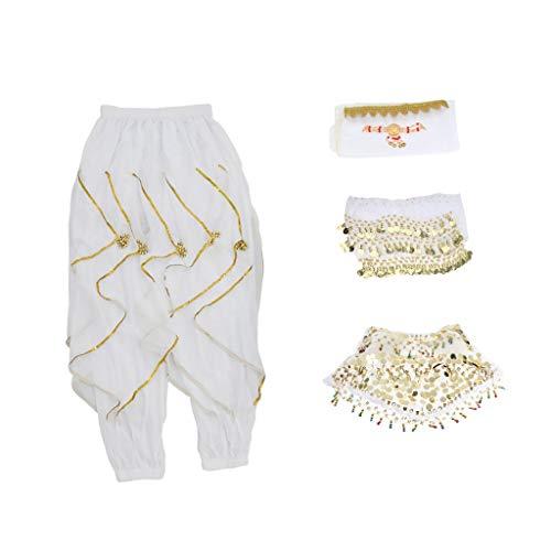 Tubayia Damen Bauchtanz Kostüm Set Ausgestellten Hosen Pluderhosen Taillenrock für Latin Dance Party - Ausgestellte Dance Hose