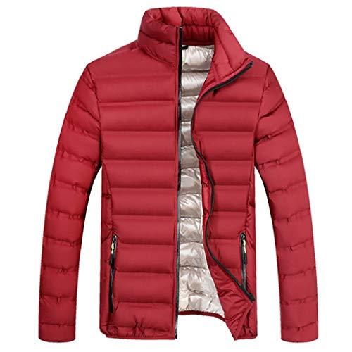 Preisvergleich Produktbild Luckycat Mens Fashion Winter Zipper Reine Farbe Stehkragen Verdickt Baumwolle Outwear Mantel Mode 2018