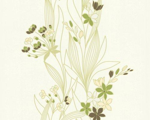 Preisvergleich Produktbild A.S. Création Vliestapete OK Tapete floral 10,05 m x 0,53 m gelb grün weiß Made in Germany 237330 2373-30