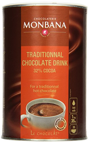 Monbana Schokoladenpulver 1kg Dose (mind. 32{e87660ee00dfe18fa63e0c9ef3625e62d8cfd46cea7302b0493a6bbb739e8af4} Kakao), 1er Pack (1 x 1 kg)