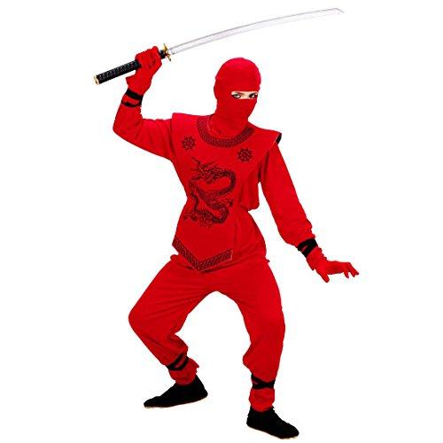 NET TOYS Kinder Ninjaanzug in rot Ninja Kostüm rot 128 cm 5-7 Jahre Ninjakostüm Samurai Anzug Japanischer Krieger (Japanischen Ninja Krieger Kostüm)
