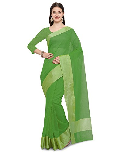 SAREE MALL Women's Linen Silk Saree With Blouse Piece(Green ,Free Size)