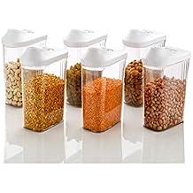 Kitchen Bazaar Easy Flow 1500 Ml Kitchen Storage Container Set for Cereals, Rice, Pulses - Set 6 …