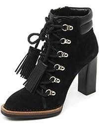B9126 tronchetto donna TOD S T105 scarpa ganci nappine nero shoe boot woman 24857cff6e8