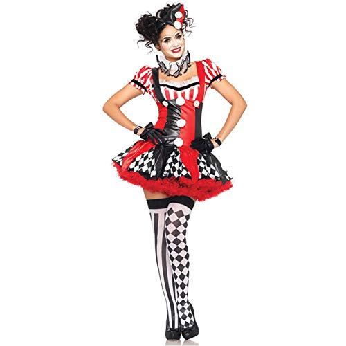 People-cos1 costumi di halloween per ragazze, costume di halloween da donna arlecchino clown outfit fancy party costumi da performer
