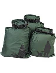 UEETEK 3pcs bolsa seca impermeable bolsa de almacenamiento de información para Camping Canotaje Kayak Rafting pesca ejército Green,(1.5L+2.5L+3.5L)