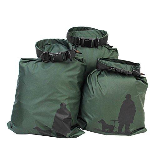 Preisvergleich Produktbild UEETEK 3 Stück / Set Wasserdichte Trockenbeutel, Ultra-light Nylon Packsacks für Camping Bootfahren Kajakfahren Rafting Angeln,  ideal zum Speichern von Mobiltelefonen,  Kamera,  Schuhe,  Armeegrün, (1, 5 L + 2, 5 L + 3, 5 L)