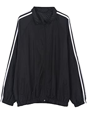 YNuth Giacca Cappotto Bomber Jacket a Strisce con Tasca Manica Lunga Zipper Elegante Donna Coat