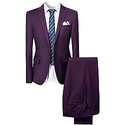 Slim Fit 2-Teilig Herren Anzug für Hochzeit Party (2XLarge, Lila)