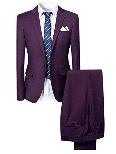 Slim Fit 2-Teilig Herren Anzug für Hochzeit Party Lila Large