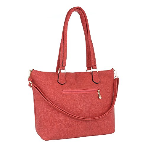 iTal-dEsiGn Damentasche Mittelgroße Schultertasche Handtasche Used Optik Kunstleder TA-H1013 Rot
