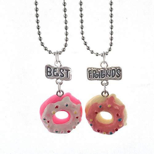 2 PC Freunde für Immer Kind-Kind-Harz-Anhänger Kuchen Donut Anhänger in Form von Halskette