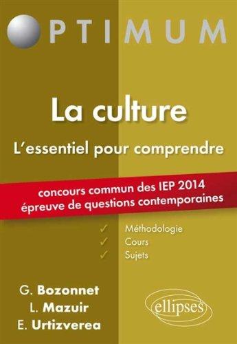 La Culture l'Essentiel Pour Comprendre Concours Commun des IEP 2014 Épreuve de Questions Contemporaines par Grégory Bozonnet, Line Mazuir, E.Urtizverea