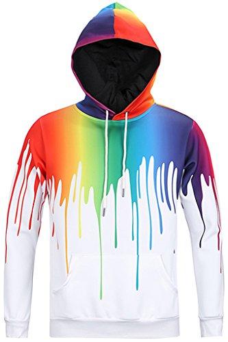 Pizoff Unisex Hip Hop Sweatshirts druck Kapuzenpullover mit Farbkleks 3D Digital Print Y1760-08-S (Womens Shirt L/s Klassische)