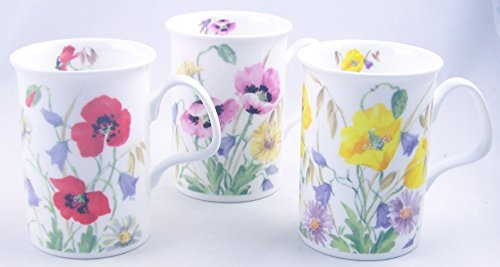 Fine English Bone China Mugs - Set of Three - English Meadow By Roy Kirkham  by