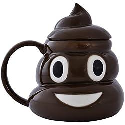 La taza de café de cerámica del té de Emoji Emoticon Poo Poop con la tapa viene en caja de regalo