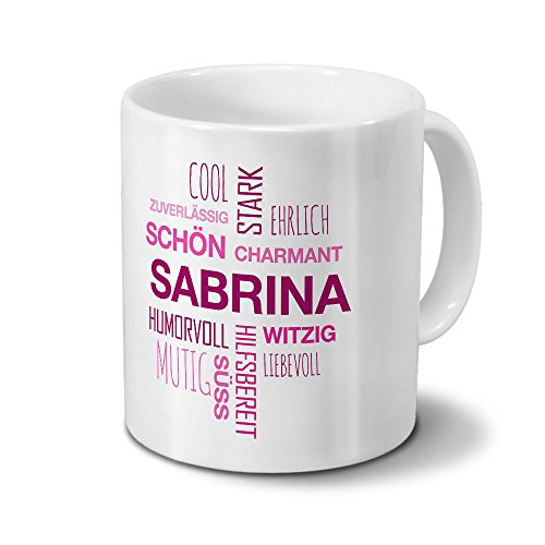 Tasse mit Namen Sabrina Positive Eigenschaften Tagcloud - Pink - Namenstasse, Kaffeebecher, Mug, Becher, Kaffeetasse