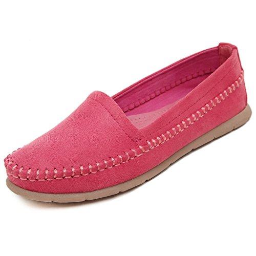 Minetom Donne Primavera Estate Scarpe Outdoor Pattini Dei Piselli Piatto Scarpe Moda Rosa Rossa