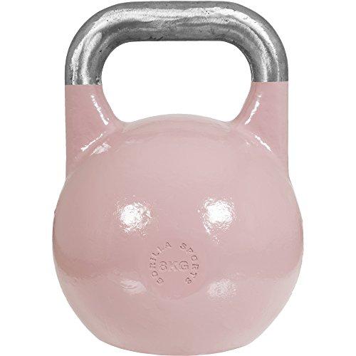 GORILLA SPORTS® Kettlebell Competition 8 kg Stahl Pink – Wettkampf Kugelhantel