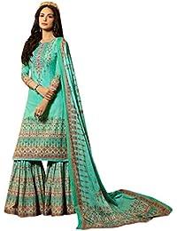 ETHNIC EMPORIUM Skyblue Mujeres Musulmanas Casual Garara impresión Digital  Indio étnico Bollywood Mujer niña Vestido Pesado b2cd98dea01