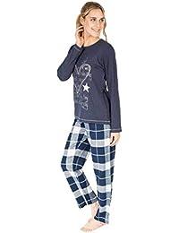 MASSANA Pijama de Mujer de Estrellas y Cuadros P681226 - Marino, L