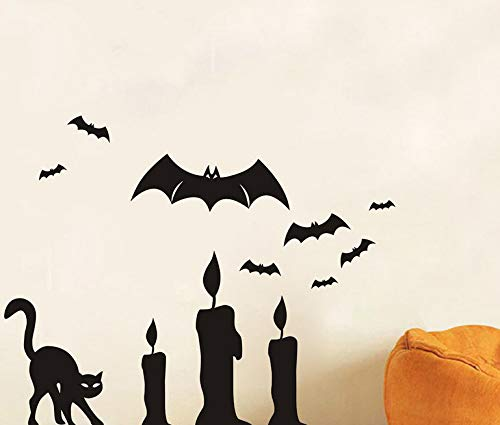 Schwarze Katze Und Fledermaus Wandtattoos Abnehmbare Scary Wandaufkleber Kunstwand Decor Diy Pvc Bat Tapeten ()