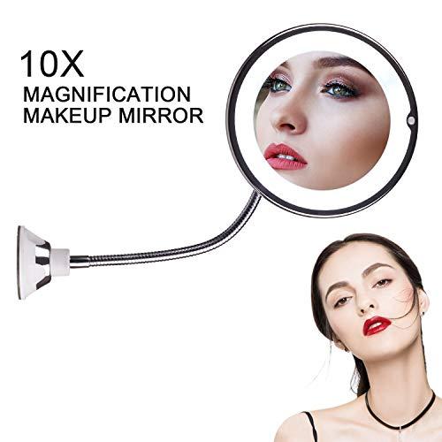 STLOVE Spiegel Mit Beleuchtung,LED-Wireless-Schminkspiegel mit 10-facher Vergrößerung, Badezimmerspiegel mit starkem Saugnapf und flexiblem 360 ° verstellbarem Schwanenhals. (10X)