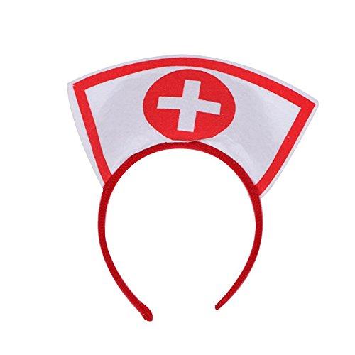 Krankenschwester Kreuz Rot Kostüm - Kicode Halloween Party Kostüm Zubehörteil Krankenschwester Hut Stirnband mit rot Kreuz Fancy Kleid Cosplay Haarband