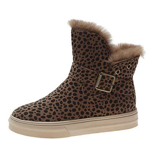 Silber Schnalle Stiefel (FeiBeauty Damen Leopard warme Stiefel Damen Schneeschuhe Schnalle-Riemen flach-mit Baumwollschuhen Schwarz brauner Leopard 35-40)