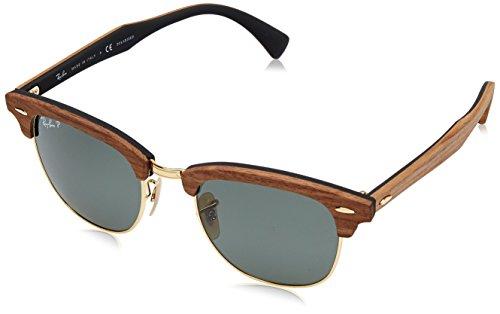 Ray Ban Herren Sonnenbrille Clubmaster Gestell: Braun, Gläser: Polarized Grün Klassisch 118158), Medium (Herstellergröße: 51)