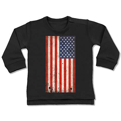Städte & Länder Baby - USA Flagge Vintage - 6-12 Monate - Schwarz - BZ31 - Baby Pullover