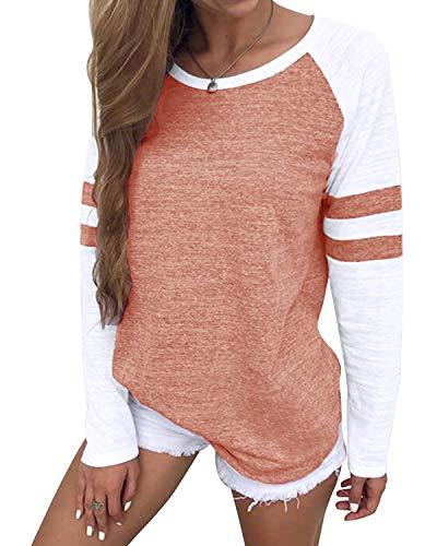 YOINS Pulli Damen Langarmshirt Sweatshirt mit Streifen Rundhals Ausschnitt Oversize Hemd, Streifen-rosa, Gr.- L/ 44