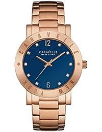 Caravelle New York Oro Rosa Boyfriend reloj de mujer de cuarzo con Esfera Analógica Azul Pantalla y Pulsera de oro rosa 44l202