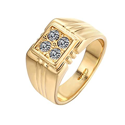 [Best Father's Gift] Yoursfs 18ct Yellow Gold Plated Square Signet Rings with Cubic Zirconia for Men Fashion
