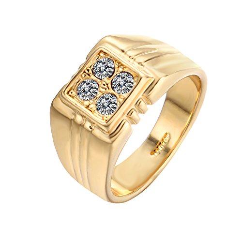 Yoursfs placcato oro 18 k, con zircone cubico solitarie in blocchi di anello tipo cavaliere da uomo, come regalo o per feste e fede, 16,5, cod. r857r1-8fr