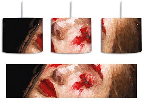 Frau mit roten Puder Pinsel Effekt inkl. Lampenfassung E27, Lampe mit Motivdruck, tolle Deckenlampe,...