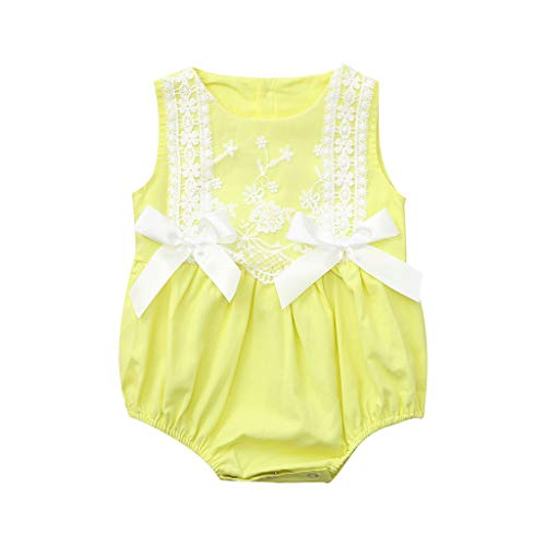 MRULIC Mädchen Strampler Neugeborenes Baby Outfits Lace Bow Ärmellos Sommer Floral Bodysuit Sunsuit Overall Niedlichen Sommer Kostüm Sets(Gelb,3-6 Monate)