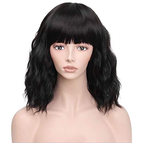 LLonGao Schwarze Kurzwelle Lockiges Haar Perücke Synthetische Wasserwelle Lockiges Haar Perücken Mode
